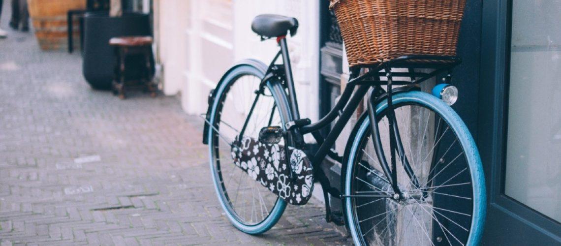 blå cykel